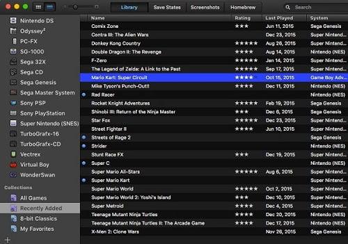 Lista Biblioteca - Library - Multi-Emulador para Mac Os OpenEmu